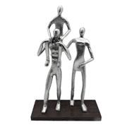 Escultura em metal familia prata 41 cm