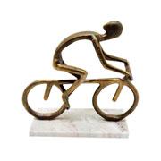 Escultura em metal bicicleta bronze 24x24 cm