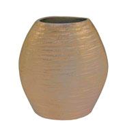 Vaso arredondado em metal dourado 28x24 cm