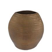 Vaso arredondado em metal bronze 28x24 cm