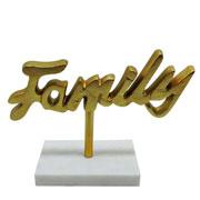 Escultura mármore e metal family dourada 25x18 cm