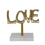 Escultura de mármore e metal love dourado 20 cm