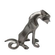 Escultura em metal prata Tigre 21 cm