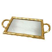 Bandeja em metal espelhada dourada 44x23 cm
