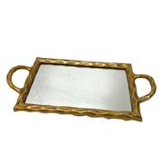 Bandeja em metal espelhada ouro velho 44x23 cm