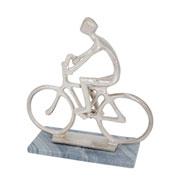 Escultura mármore e metal bicicleta prata 27 cm
