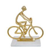 Escultura mármore e metal bicicleta dourada 27 cm