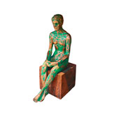 Escultura em resina homem ouro/verde 10x28 cm
