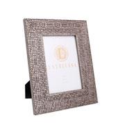 Porta retrato em MDF quadriculado prata 13X18 cm