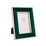 Porta retrato em MDF borda de veludo verde 10x15 cm