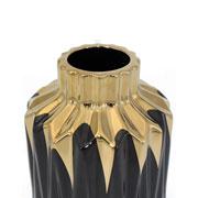 Vaso em cerâmica preto/dourado 25 cm
