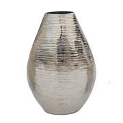 Vaso oval em alumínio prata 22 cm