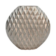 Vaso em alumínio prata detalhe 3D 22 cm