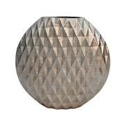 Vaso em alumínio prata detalhe 3D 28 cm