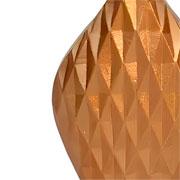Vaso em alumínio dourado detalhe 3D 31 cm