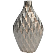 Vaso em alumínio prata detalhe 3D 36 cm