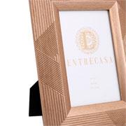 Porta retrato em MDF listrado ouro 10x15 cm