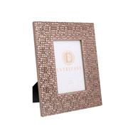 Porta retrato em MDF quadriculado champagne 10x15 cm