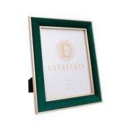 Porta retrato em MDF borda de veludo verde 20x25 cm