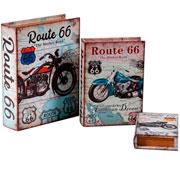 Jogo de livros caixa em MDF route 66 03 peças