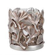 Castiçal resina com detalhe folha prata 13 cm