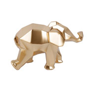Escultura em resina elefante geometrico dourado 10 cm
