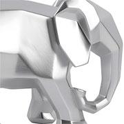 Escultura em resina elefante geometrico prata 15 cm