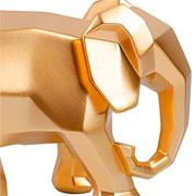 Escultura em resina elefante geometrico dourado 15 cm