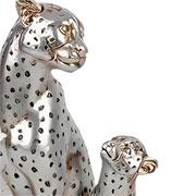 Escultura em resina leopardos prata 25 cm