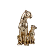 Escultura em resina leopardos dourado 25 cm