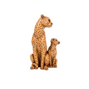 Escultura em resina leopardos caramelo 25 cm