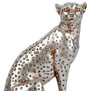Escultura em resina leopardo prata 23 cm