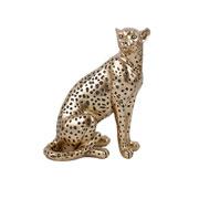 Escultura em resina leopardo dourado 23 cm