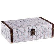 Caixa de madeira branco/dourado 30x20 cm