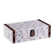 Caixa de madeira branco/dourado 25x15 cm