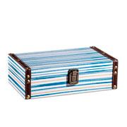 Caixa de madeira branco e azul 25x15 cm