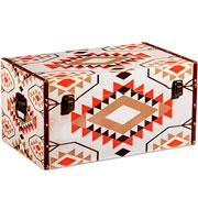 Baú de madeira bege colors 59x30 cm