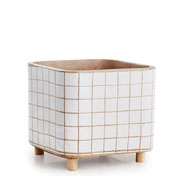 Cachepot em cimento e madeira branco 12x11 cm
