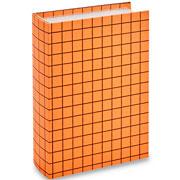 Livro caixa laranja quadriculado 30x21,5 cm