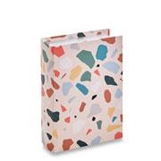 Livro caixa terrazo rosa 23x17 cm