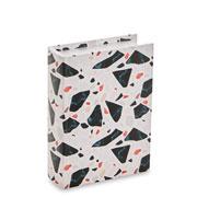 Livro caixa terrazo branco e preto 23x17 cm