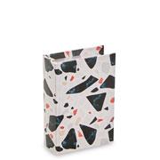 Livro caixa terrazo branco e preto 16x10 cm