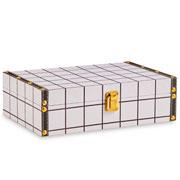 Caixa de madeira branco quadriculado 30x20 cm