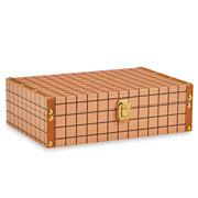 Caixa de madeira laranja quadriculado 30x20 cm