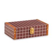 Caixa de madeira marrom quadriculado 25x15 cm