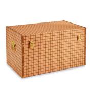 Baú de madeira laranja quadriculado 59x36 cm