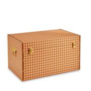 Baú de madeira marrom quadriculado 49x28 cm