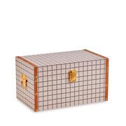 Baú de madeira bege quadriculado 35x21 cm