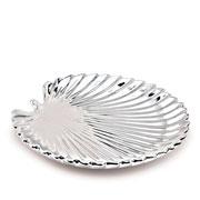 Folha em cerâmica prata 25 cm