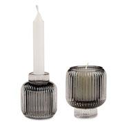 Porta velas em vidro Fume 8 cm